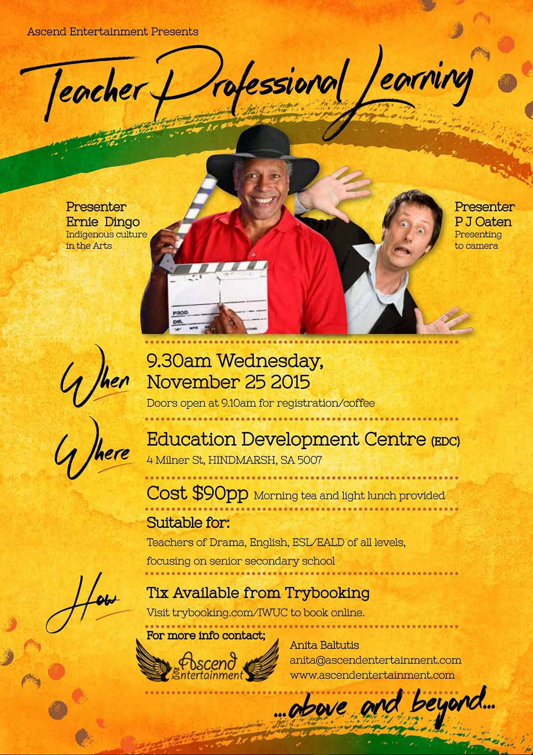 Ernie Dingo November 2015 flyer